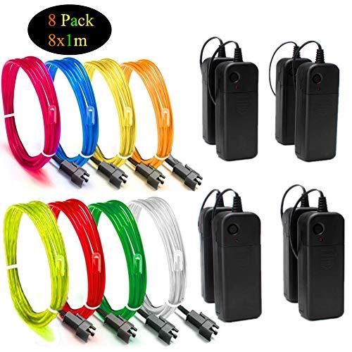 Sunboia 8x1M EL Wire Fil Neon Flexible Lumiere,LED Cable Guirlande Lumineuses Electroluminescent Tube Lumineux pour Halloween Parti Noël Voiture Cuisine Exterieure Boites de Nuit Décor(8 Couleur)