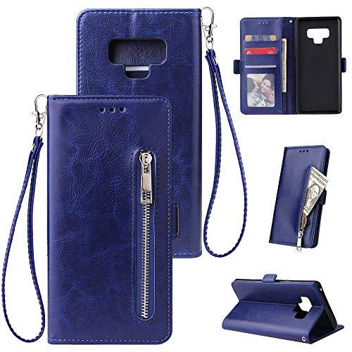 FNBK Kompatibel mit Hülle Samsung Galaxy Note 9 Handyhülle Leder Handytasche Reißverschluss Brieftasche Flip Case Slim Luxus Schutzhülle Handschlaufe Kredit Karten Magnetische Ständer,Blau - Netzkabel Reißverschluss