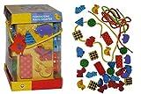 Unbekannt 38 tlg. XL Set Fädelperlen aus Holz groß - Fädelturm Perlen Holzperlen Holzspielzeug bunt Kinder