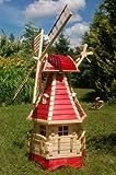 Deko-Shop-Hannusch Moulin à vent décoratif en bois avec roulement à billes et éclairage solaire 1,25 m rouge...
