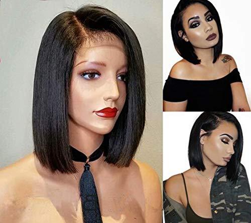 Maxine Klebefreie Bob-Perücke, 100 % unbehandeltes, brasilianisches Echthaar, glattes Haar, kurzes Spitzenband vorne, Echthaar-Perücken für schwarze Frauen, vorgezupft mit Babyhaar, Remy-Haar (Schwarze Echthaar Perücken)