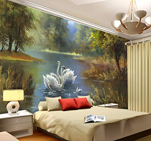 Fotomurali Elegante Lago Swan Wallpaper 3D Photo Wallpaper Murales Personalizzati Dipinto Ad Olio Art Interior Kids Camera Da Letto Coffee Shop Arredamento-280X200Cm,Carta da parati