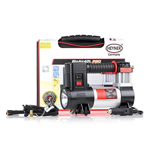 HEYNER® 237100 Kompressor 12 Volt Reifen Inflator 40 Liter mit Lampe