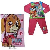 Nickelodeon Paw Patrol Girls Pyjamas PJS Jammies Bundle With a Skye Pup Character Snuggle Blanket
