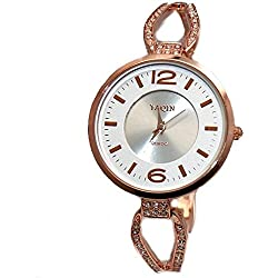 Rose Gold Tone Band Round Matt Silver Dial Ladies Elegant Bracelet Watch