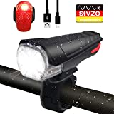 seenlast LED Fahrradlicht Frontlicht Rücklicht, StVZO Zugelassen 380 Lumen Licht USB Aufladbare Fahrradbeleuchtung Fahrradlampe Set, IPX5 Wasserdicht Energiesparend Lampenset Set für Fahrrad