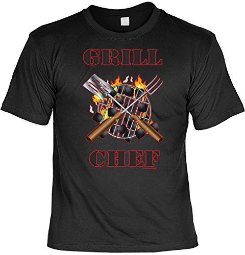 Griller T-Shirt Grill Chef BBQ Shirt geil bedruckt Geschenk Set mit Mini Flaschenshirt Schwarz