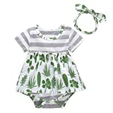 puseky 2 stücke Säuglingskleinkind Sommer Deer Kleidung Baby Kurzarm Kleid + Handband Outfits Set (Color : Green, Size : 6M-9M)