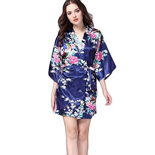 AOWEI EC Mujer Kimono Satén Albornoz Corto Pijama
