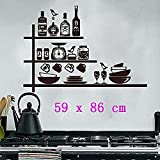 Vinyle Stickers Muraux Amovibles Poterie Créative Étagère À Épices Cuisine Stickers Muraux Étanche Stickers Muraux Décoration @ 44 X 64 Cm @ 59_X_86_Cm