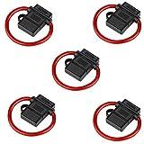Audioproject A211-5 x Pack - Sicherungshalter ATC max 40A mit 6mm² 10GA Kabel Spritzwasser geschützt - Extra Dickes Kabel - für Flachsicherung