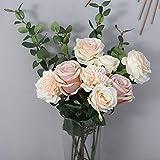 Decoration & Design Kunstblumenstrauß zur Dekoration aus Hochwertiger Seide - Rosen, Nelken und Eukalyptuzweige