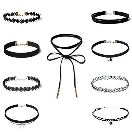 OULII Juego de collar de gargantilla clásico de 9 piezas Collar de gargantilla de encaje tatuaje gótico de terciopelo para niñas y mujeres adolescentes