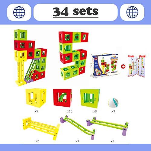Hzl Magnetische Bauklötze Verfolgen Set Magnet Bausteine Konstruktion Blöcke DIY 3D Pädagogische Spielzeug Geburtstag Kindertag Geschenk für Kinder Kleinkind 4 Modelle,2