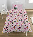 Emoji Flamingo Housse de couette, coton Polyester, Multicolore, Unique