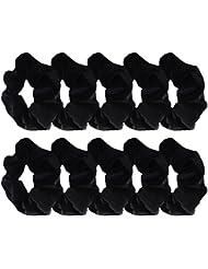 Mudder 10 Pièce Élastiques Cheveux Noirs en Velours Cheveux Cravates Bandes Chouchous