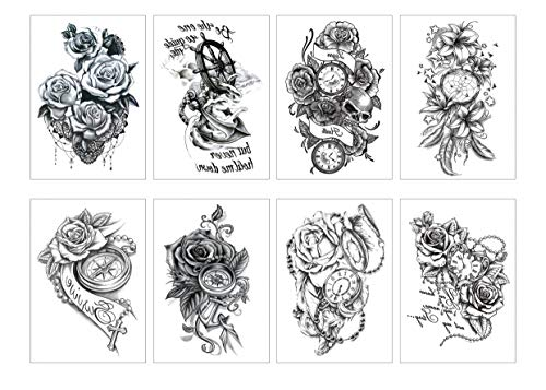 Spestyle 8pcs / package schwarze Blume temporäre Tätowierungen Aufkleber Rose Blossoms Flash Tattoo - Tätowierungen Rose