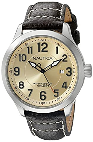 Nautica pour homme Nad10006g Ncc 01Date Affichage analogique à quartz analogique Marron montre