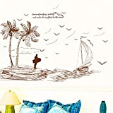 Aha Yo Zimmer Paste Kreative Landschaft Wand Paste Abnehmbaren Wohnzimmer Literarische Insel 60Cm X 90Cm
