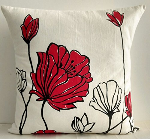 100% COTTON CUSHION COVER WITH FLOWER PRINT IN RED COLOUR