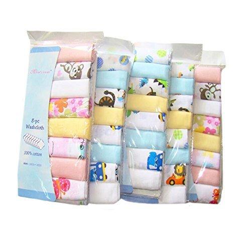 """CuteOn Baumwolle Weiche Baby-Waschlappen Baby-Handtücher, Packung mit 8, 11.8 \""""x 11.8\"""" 01-Junge"""