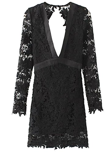 Futurino Femme Manches Longues Dentelle Crochet Col V Dos Nu Mini Robe Clubwear Noir