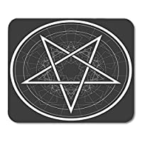 "HOTNING Gaming Mouse Pad Satan Baphomet Star Reversed Pentagram Satanic Sign Gothic Style Symbol Circle Devil 11.8""x 9.8"" Decor Office Computer Accessories Nonslip Rubber Backing Mousepad Mouse Mat"
