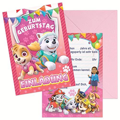 Sky - Everest paw Patrol Geburtstag Kindergeburtstag Einladung 8 STK. Einladungskarten + 8 STK. Rosa Umschlägenn