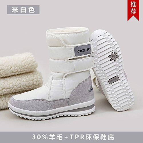 SQIAO-X- Inverno di spessore fondo piatto resistente allacqua anti-slip caldo, scarponi da neve e neve stivali scarpe di cotone M bianco