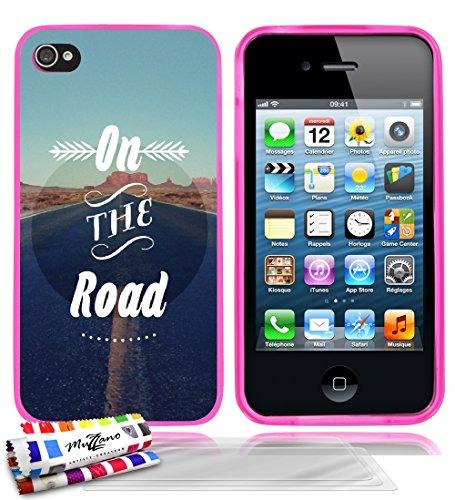 Ultraflache weiche Schutzhülle APPLE IPHONE 4 / IPHONE 4S [On the Road] [Lila] von MUZZANO + STIFT und MICROFASERTUCH MUZZANO® GRATIS - Das ULTIMATIVE, ELEGANTE UND LANGLEBIGE Schutz-Case für Ihr APPL Rosa + 3 Displayschutzfolien
