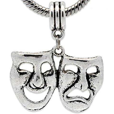 Charm Buddy Pendentif en forme de masque de théâtre tragédie comédie Charm perle bracelet Pandora