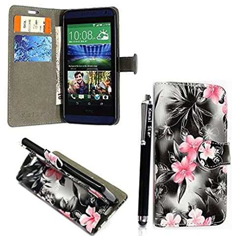 HTC Desire 650 Case Kamal Star® PU Leather Flip Cover Wallet Book Style with Stand and Card Holder Phone Protection + STYLUS (Pink Flower Dark Grey