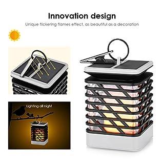 RDJM Lumières Extérieures Solaires Accrochantes, Lanternes Solaires Imperméabilisent IP55 avec L'effet 75LED De Flamme De Danse pour Le Jardin