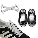 JANIRO Elastische Silikon Schnürsenkel – flexibler Schuhbänder Ersatz ohne Binden - Kinder & Erwachsene - 20 Stück - Weiss