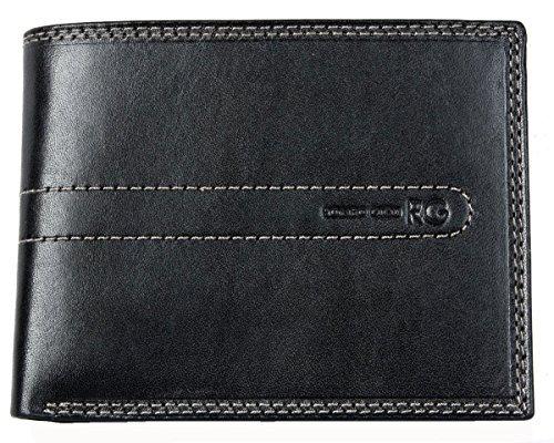 Herren Schwarzes Starkes Leder Portemonnaie - Geldbörse Romeo Gigli (Tri-fold Leder Blues Schwarz)