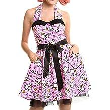 Luv Bunny Lb kawaii cuello halter vestido mujer Rosa Anime Cute Emo en poliéster