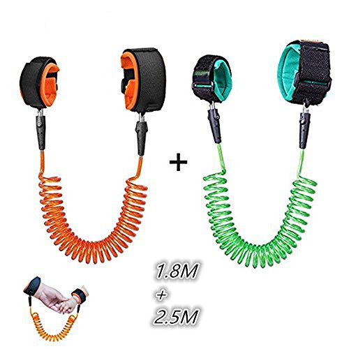 Locisne 2 Pack Baby Anti-verloren Gürtel, Baby Kinder Safty Anti Lost Walking Hand Gürtel Handgelenk Link Bungee Leine Sicherheit Kleinkind Harness, Reisen Helfer (1.8m + 2,5m)