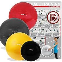 POWRX Gymnastikball Deluxe Sitzball inkl. Pumpe und Workout | verschiedene Größen und Farben