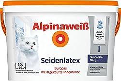 ALPINA Alpinaweiß Seidenlatex, Wandfarbe Seidenglanzoptik 10 L. weiß