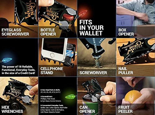 Gadget Hero's Wallet Ninja 18-in-1 Survival Tool Kit Multifunction Credit Card Style