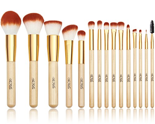 The Fellie Makeup Brushes, Professional Bamboo Handle Powder Flat Foundation Blush Concealer Eyebrow Eyeshadow Eyeliner Eyelash Lip Brush Set, 15 Pcs