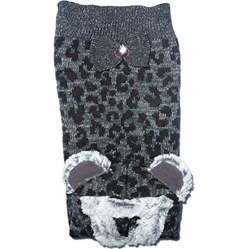 Friends Forever Cane Maglione Leopard, con cuore in argento e Glitter fili Nastro Teddy con cappuccio Medium