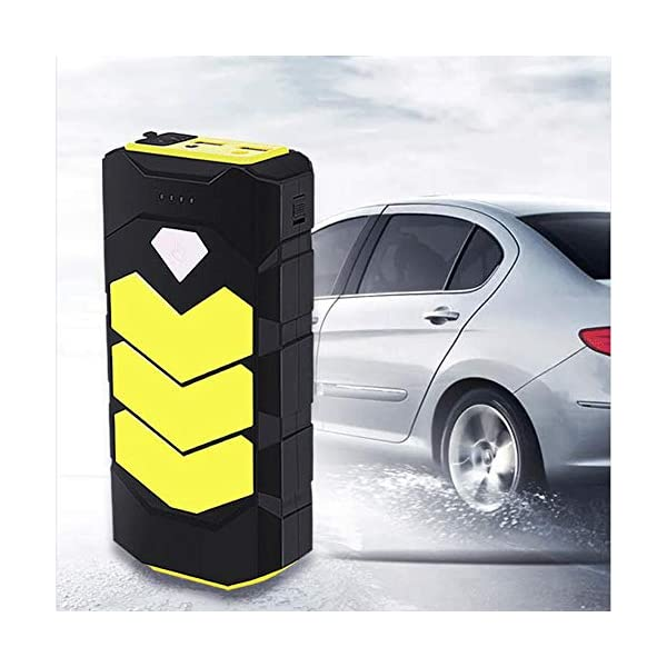 Arrancador de coche 400A, 7500mAh con Compresor aire portátil 120psi, tipo C, carga rápida USB3.0 linterna LED, hasta 3.0L de gasolina), incluye abrazaderas inteligentes