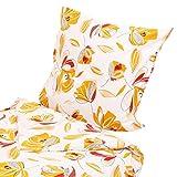 Hans-Textil-Shop Biber Bettwäsche 135x200 80x80 cm Blumen Orange