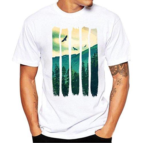 Kanpola Sport T-Shirt Herren Unregelmäßige Polyester Kurzarm Hedging Slim Fit Bluse für Jogging Yoga Männer Tops (M/48, A4-Weiß)