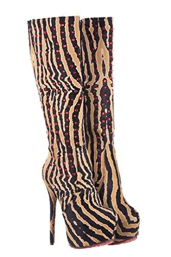 ErosAfrodite Damen Stiefel & Stiefeletten Braun Zebra Print, Ruby Red Strass (Zebra-print-stiefel)