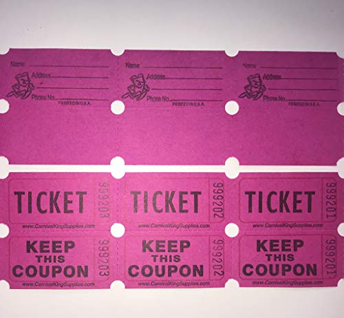 FB 100 Hot Pink farbige Los-Tickets Double Roll 50/50 Karneval Fair Split The Pot One Hundert fortlaufend nummeriert Fundraiser Festival Event Party Tür Preis Zeichnen perforierte Stubs
