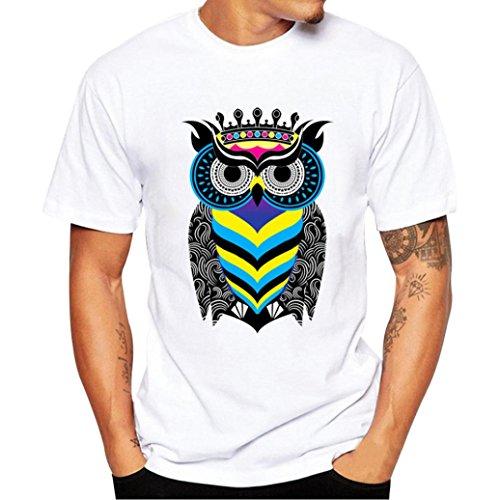 Holeider Männer Casual T-Shirt Bluse Tees Shirt Kurzarm Druck Mode Sommer 2018 (L, Schwarz) (Bleibt Steigbügel-shirt)