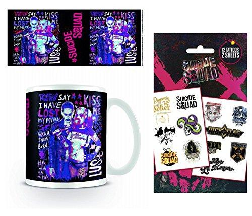 Set: Suicide Squad, Harley Quinn Und Joker Foto-Tasse Kaffeetasse (9x8 cm) Inklusive 1 Suicide Squad Tattoo Pack (17x10 cm)