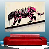 "Banksy PINK graffiti tiger street art Framed Ready To Hang Canvas by whatsonyourwall, Pop Street Wall Art Sizes from 8"" to 40"" 8""x12"""